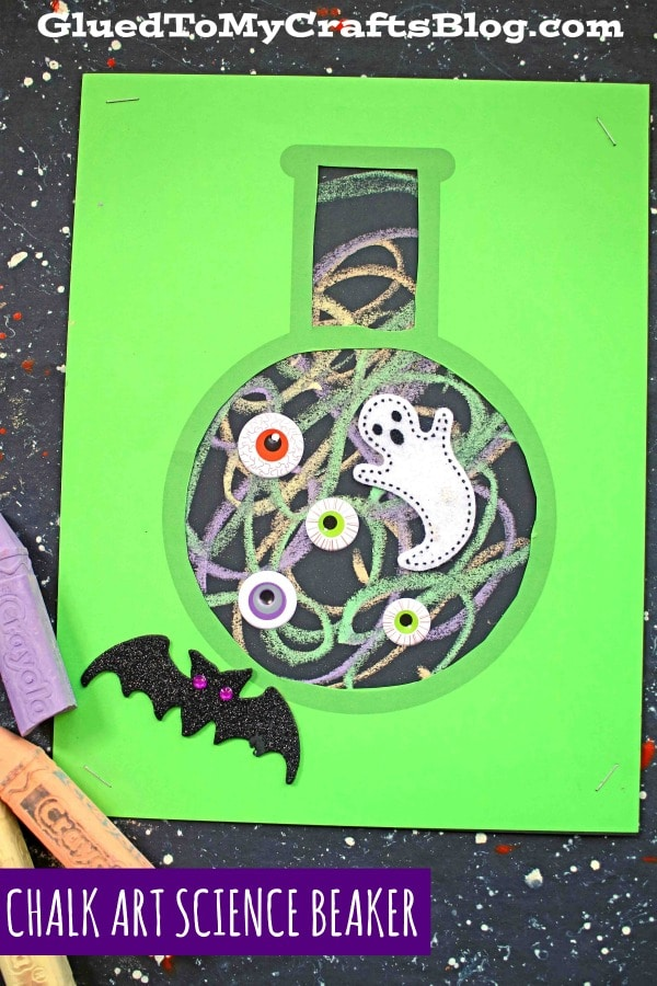 Paper and Chalk Art Science Beaker Craft For Halloween