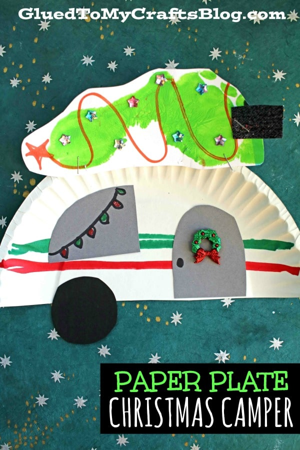 Paper Plate Christmas Camper w/Footprint Tree On Top - Kid Craft