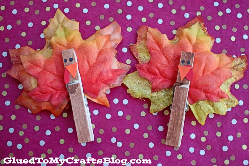 Festive Clothespin Leaf Turkeys - Kid Craft