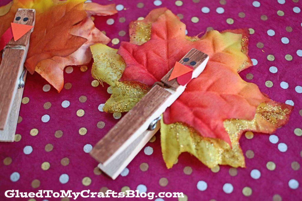 Festive Clothespin Leaf Turkeys - Kid Craft