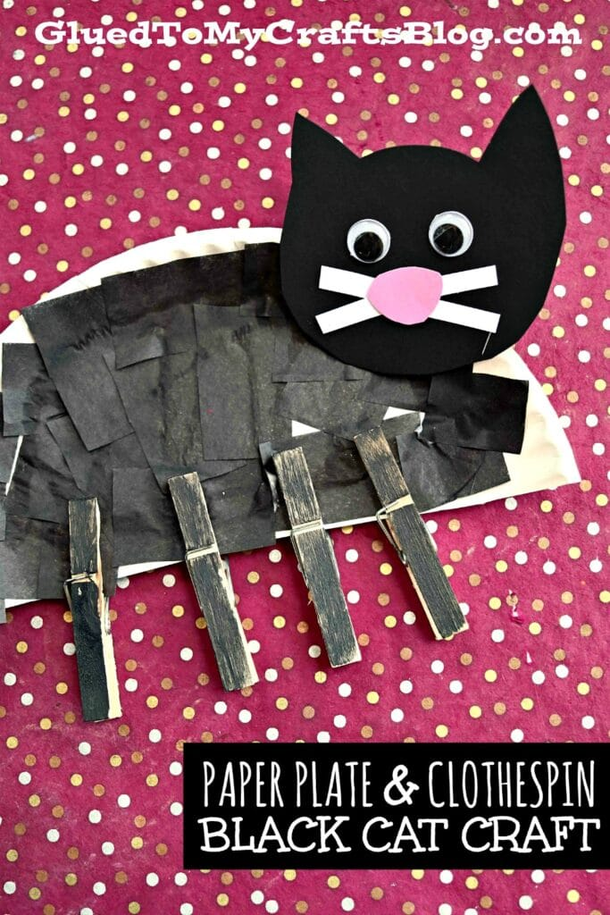 Paper Plate & Clothespin Black Cat - Halloween Kid Craft