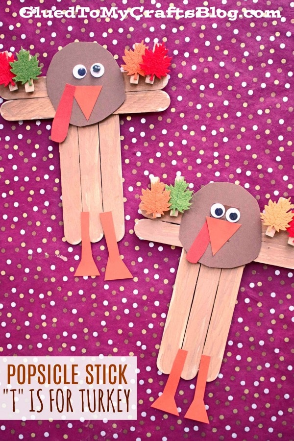 """Popsicle Stick """"T"""" is for Turkey - Kid Craft"""