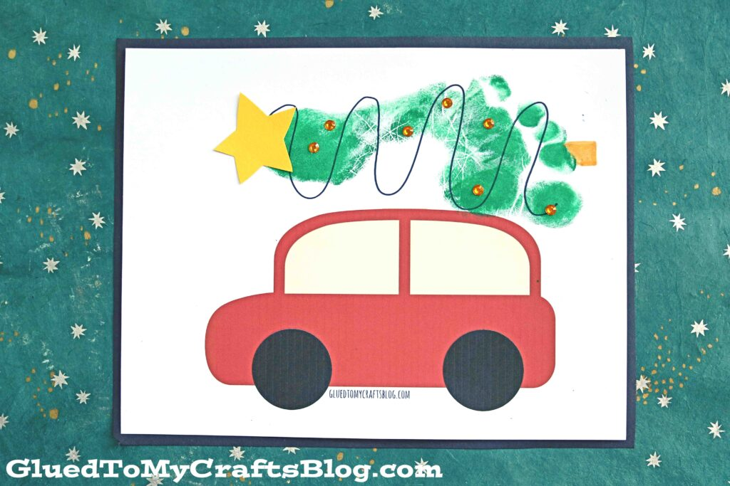 Footprint Christmas Tree on Car - Keepsake Idea For Kids To Make