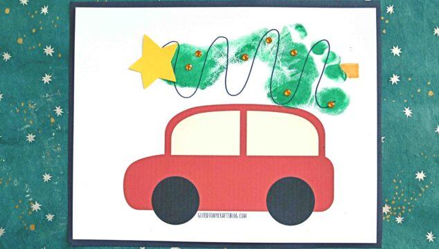 Footprint Christmas Tree on Car - Keepsake Idea For Kids To Make