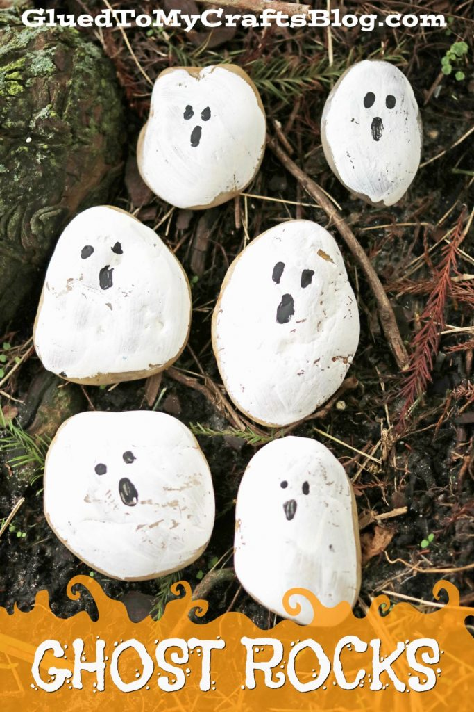 Ghost Rock Painting - Halloween Kid Craft