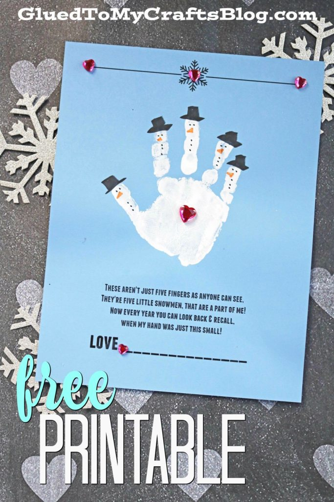 Handprint Snowman - Poem Keepsake Printable