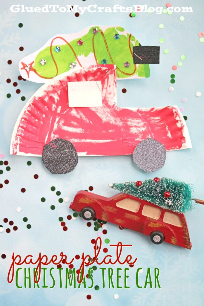 Paper Plate Christmas Car w/Footprint Tree - Kid Craft Idea