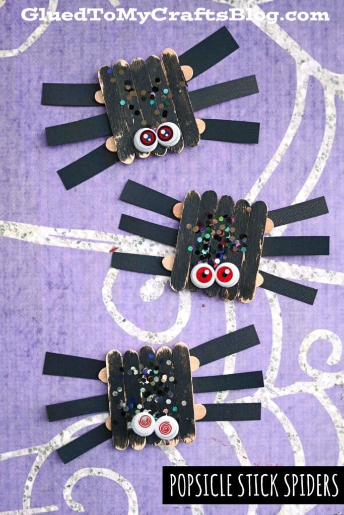 Popsicle Stick Spiders - Kid Craft Idea For Halloween