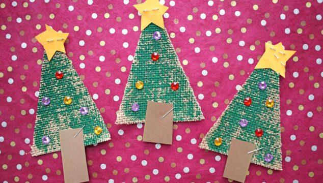 Sparkly Burlap Christmas Tree - Kid Craft