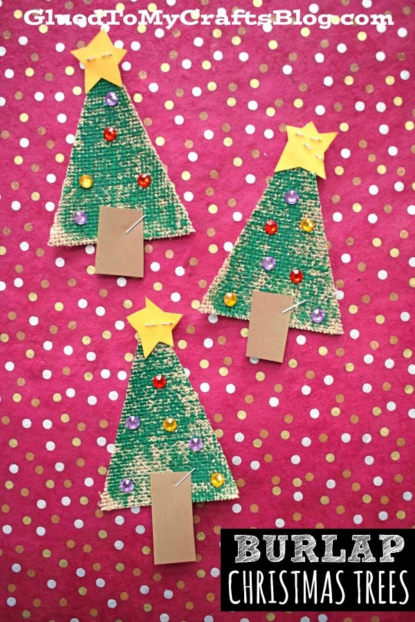 Sparkly Burlap Christmas Tree - Kid Craft