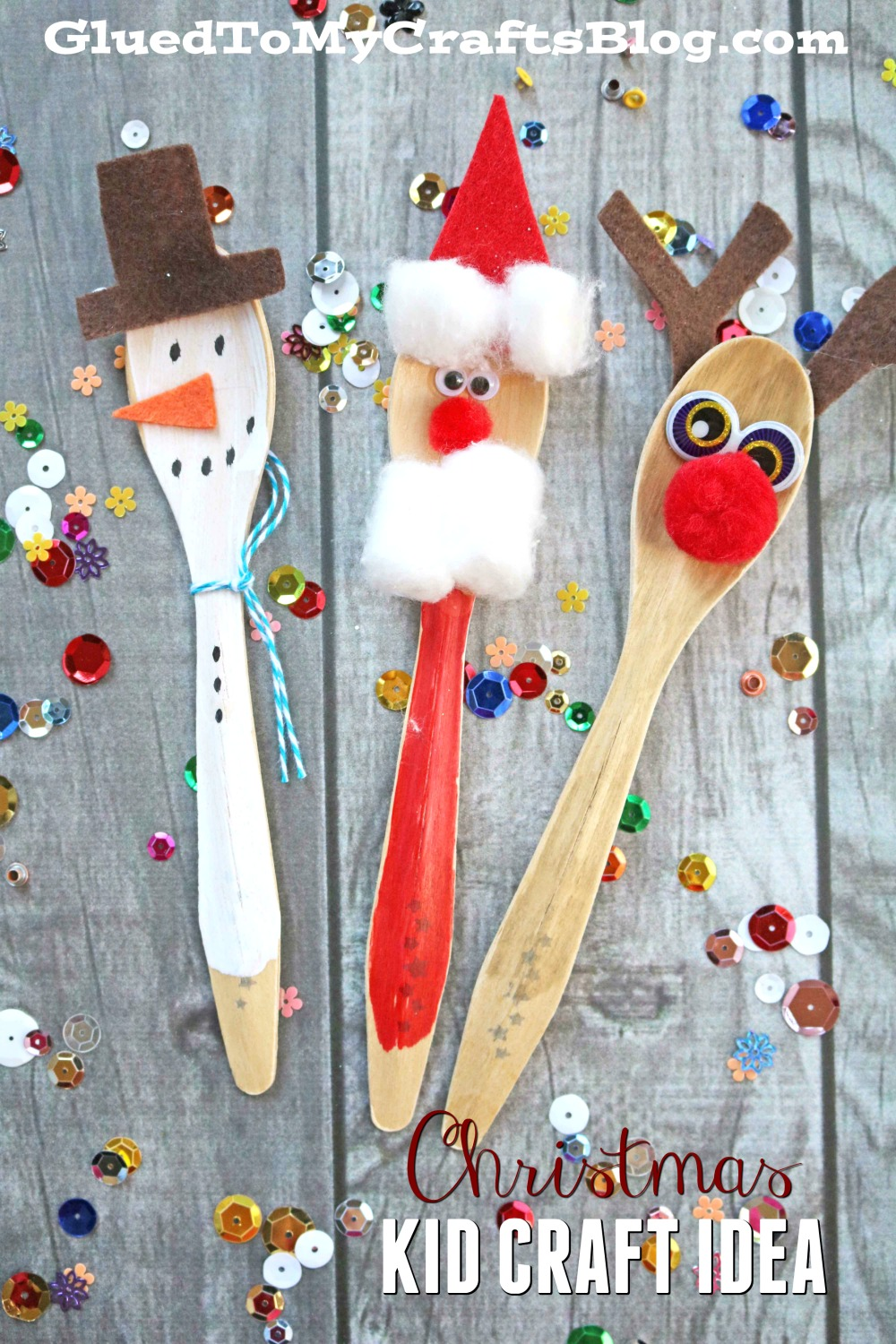Wooden spoon christmas friends kid craft glued to my for X mas decorations for kids