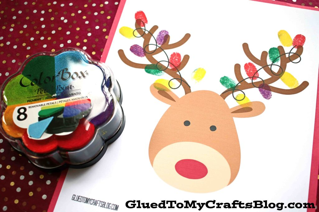 Thumbprint Christmas Reindeer - Free Printable
