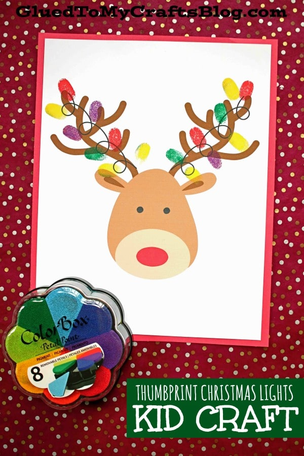 Reindeer Covered In Thumbprint Christmas Lights - Kid Craft