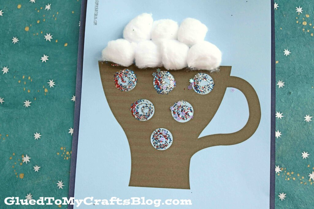 Cotton Ball Hot Cocoa Mug - Kid Craft Idea w/free printable