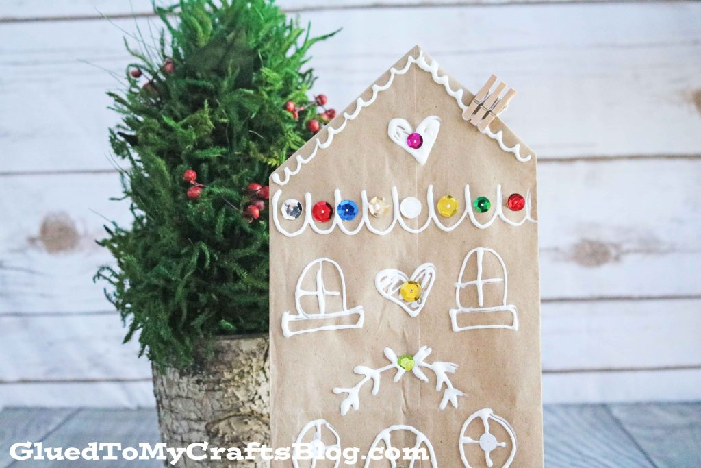 Brown Paper Bag Gingerbread House