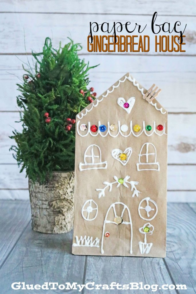 Brown Paper Bag Gingerbread House - Kid Craft