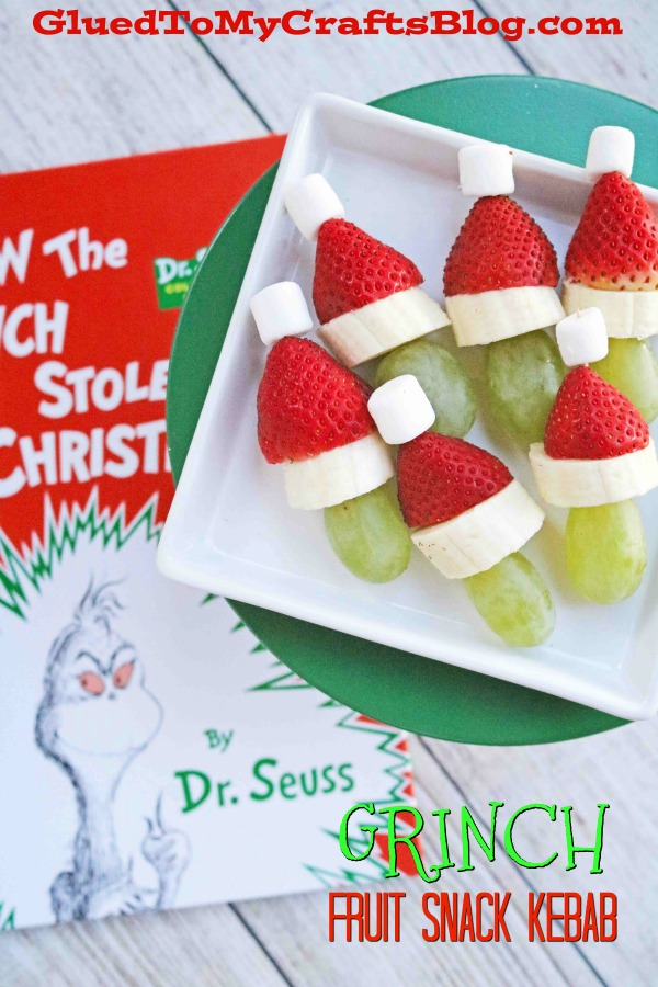 Grinch Fruit Snack Kebabs For A Christmas Party