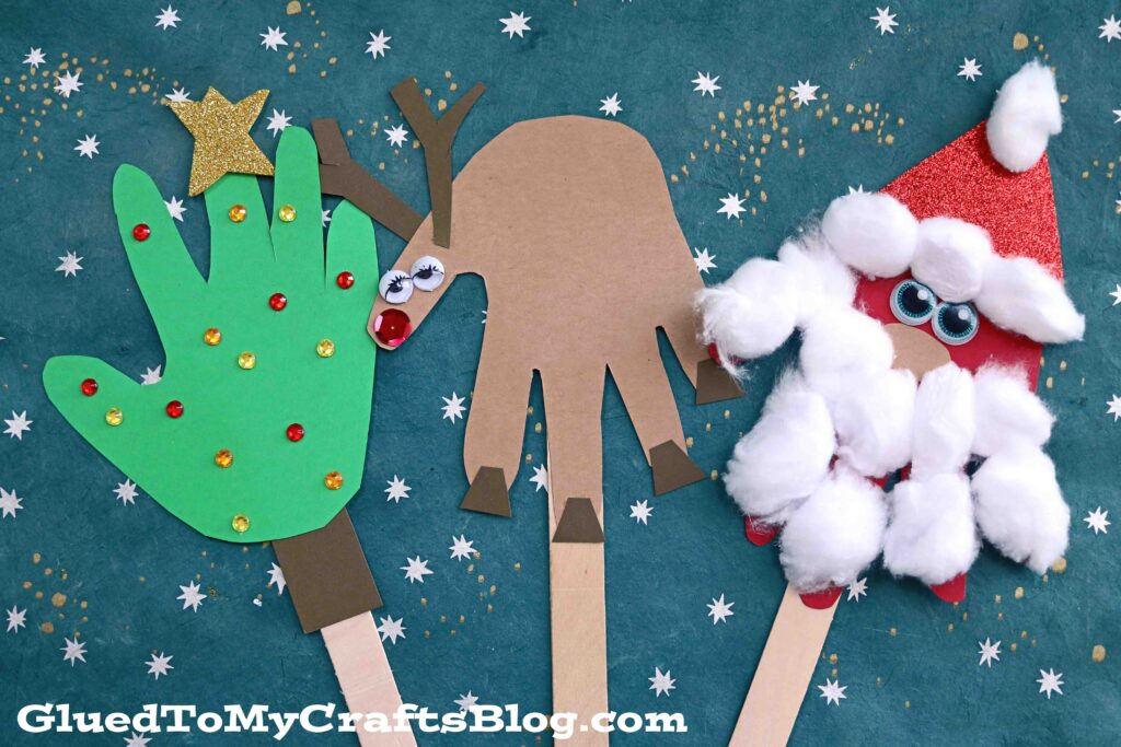Paper & Craft Stick Handprint Christmas Puppets - Kid Craft