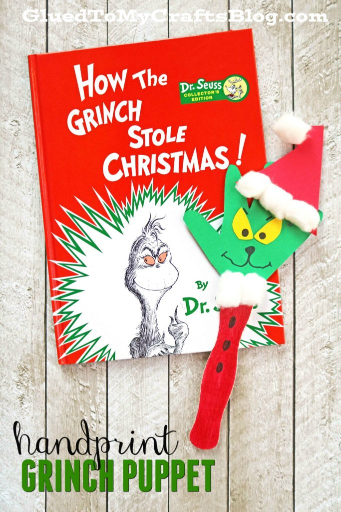 Handprint Grinch Puppet - Kid Craft