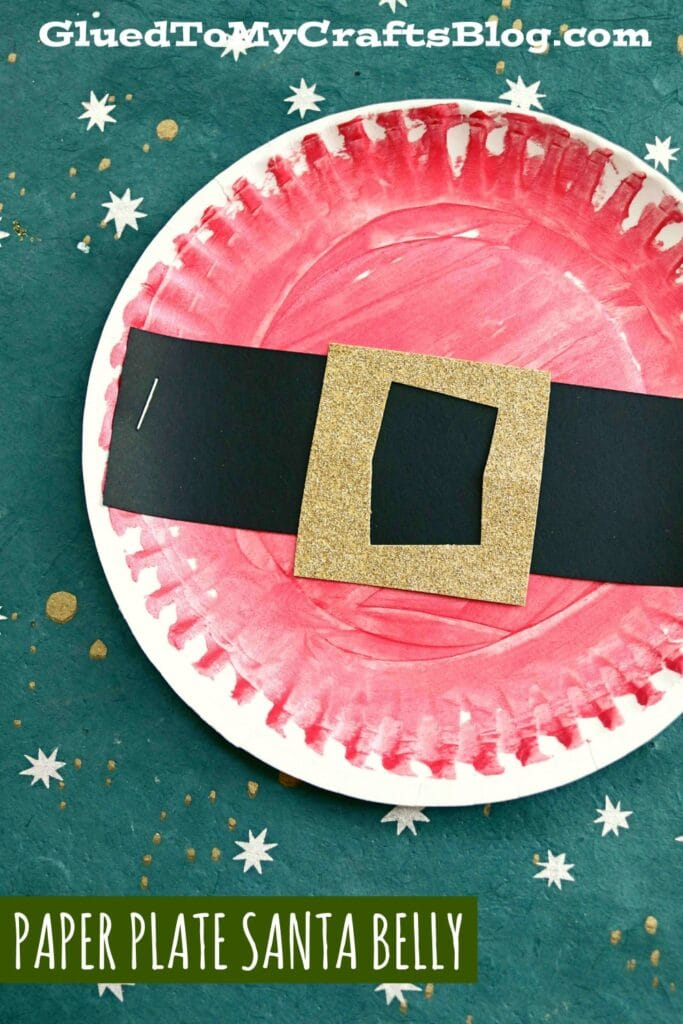 Painted Paper Plate Santa Belly - Kid Craft Idea For Christmas