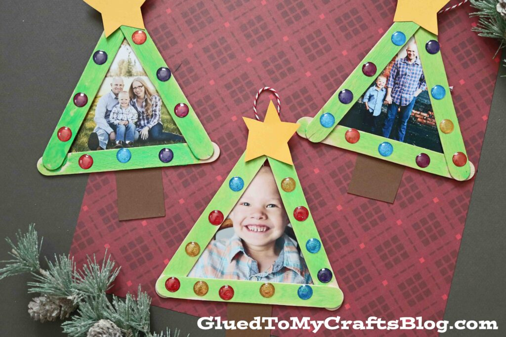 Popsicle Stick Christmas Tree Frame Ornaments - Kid Craft