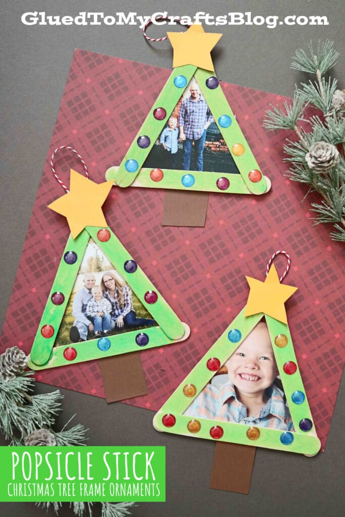 Popsicle Stick Christmas Tree Frame Ornaments Kid Craft
