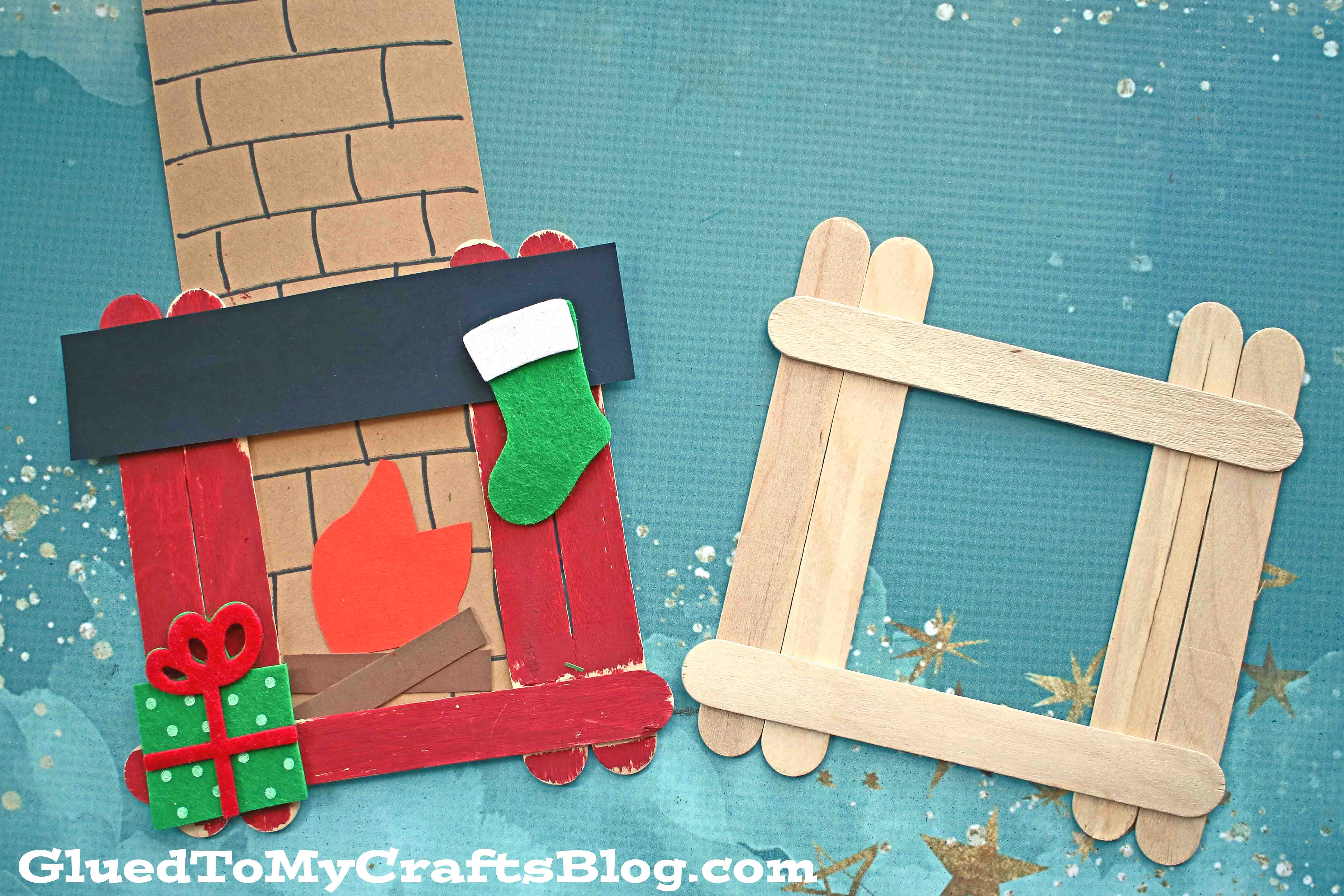 Popsicle Stick Christmas Fireplace - Kid Craft