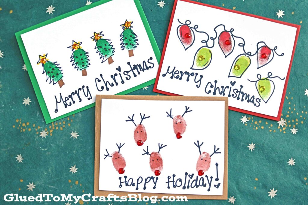Ink Pad Thumbprint Christmas Cards - Kid Craft Idea