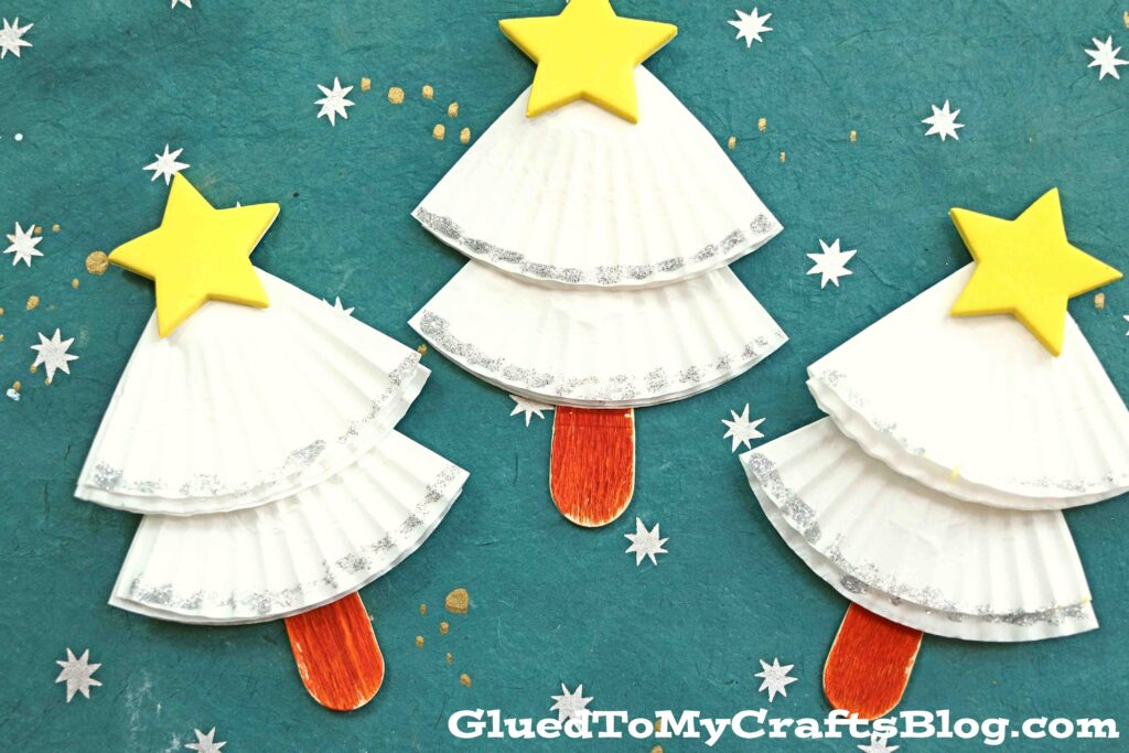 Cupcake Liner Snowy Tree - Winter Kid Craft