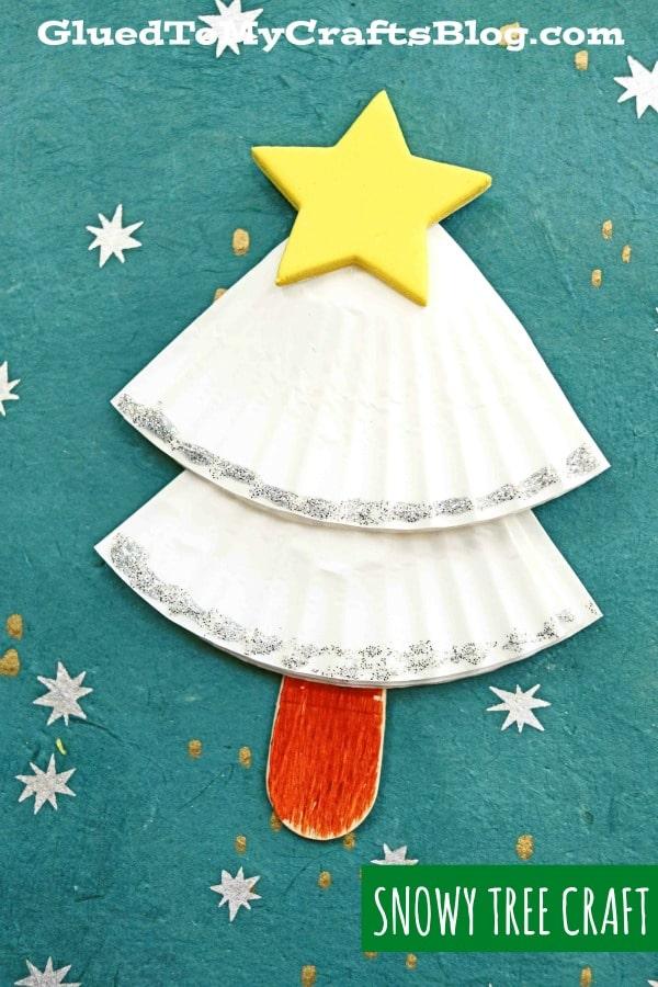 Cupcake Liner Snowy Tree - Winter Kid Craft