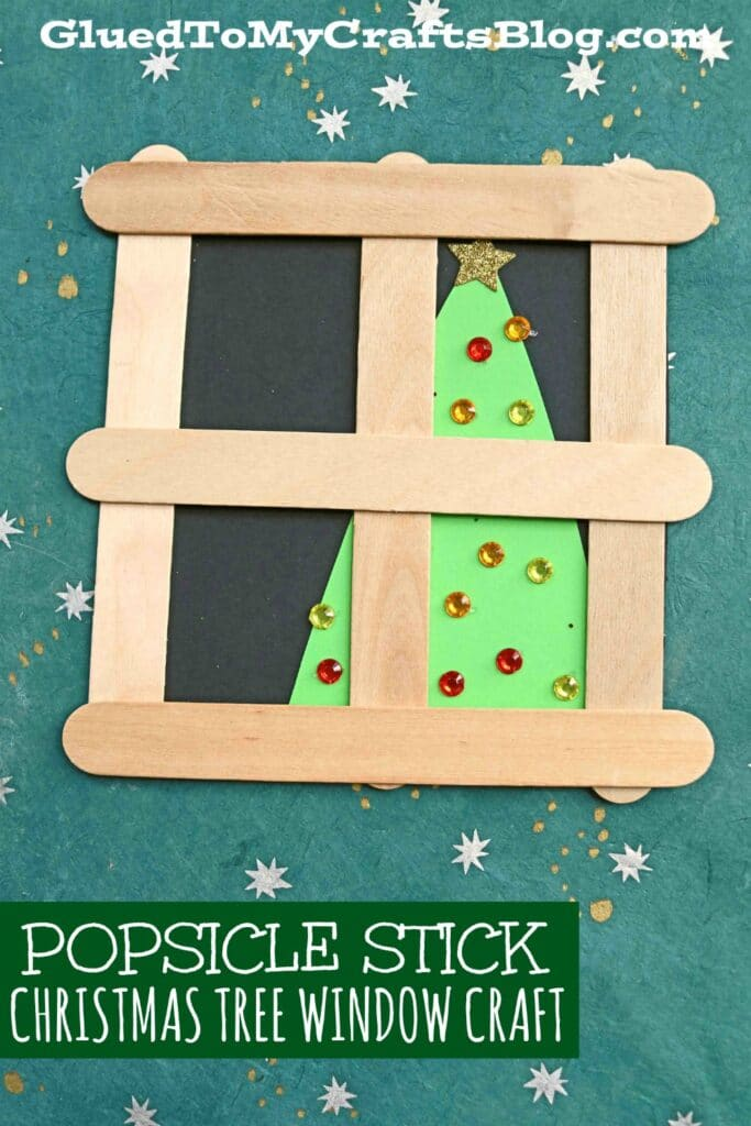 Popsicle Stick Christmas Tree In Window - Kid Craft