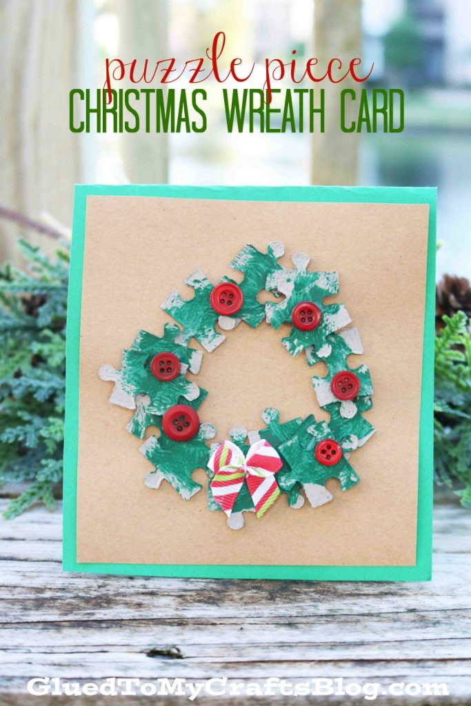 Upcycled Puzzle Piece Christmas Wreath Cards