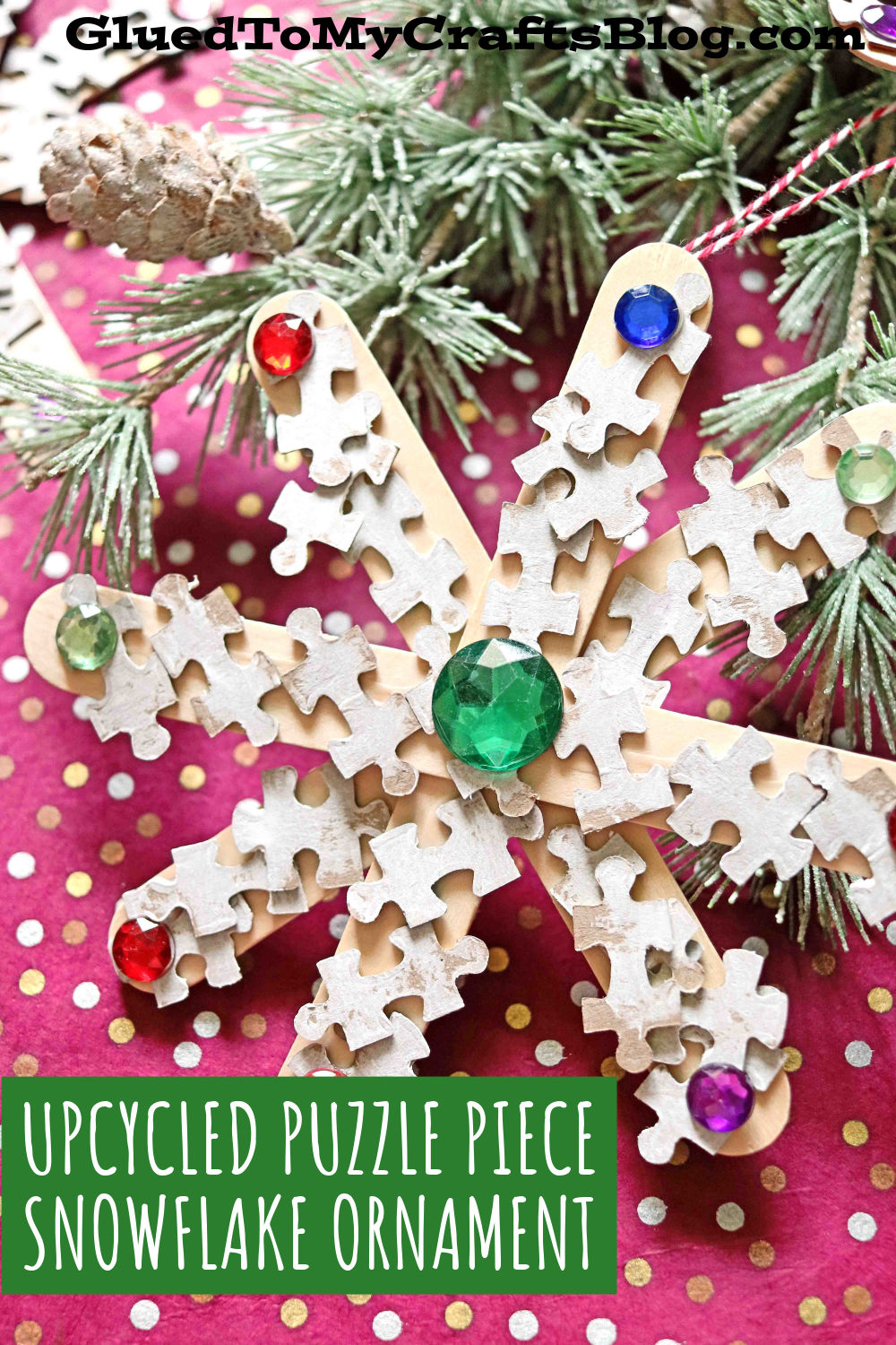 Puzzle Piece Snowflake Ornaments For Christmas - Kid Craft