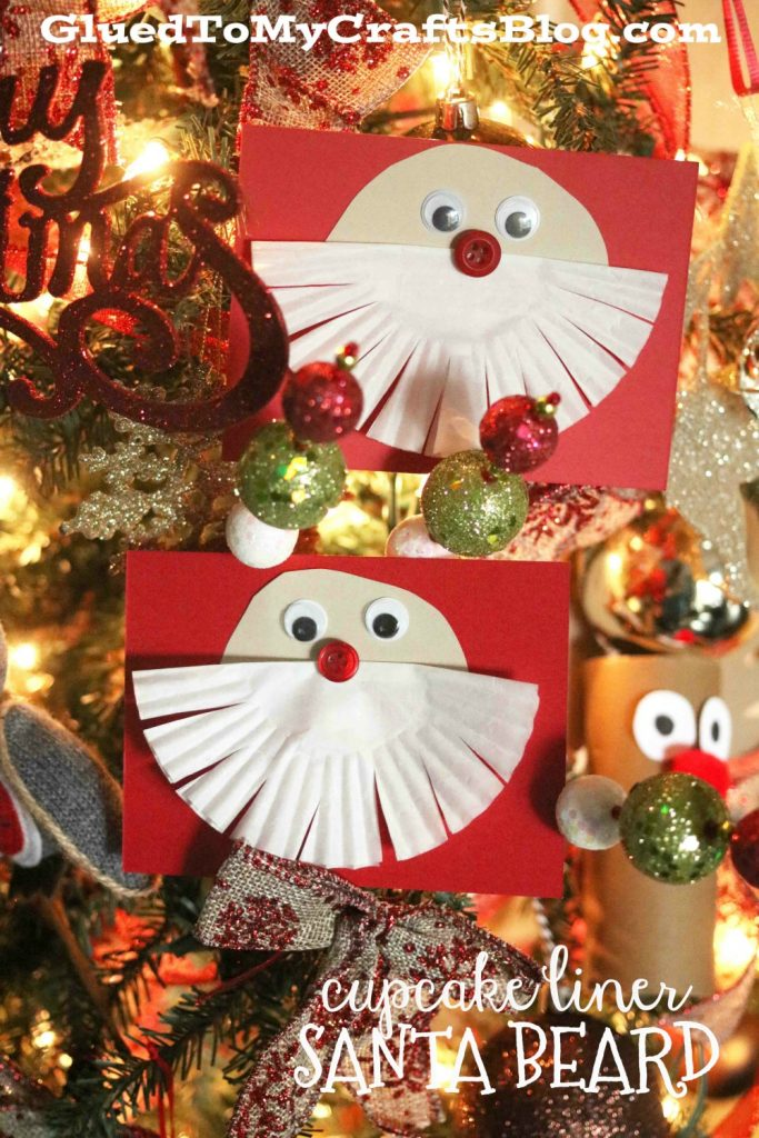 Cupcake Liner Santa Beard Cards - Kid Craft