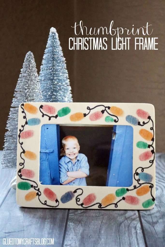 Thumbprint Christmas Light Frame - Kid Craft Idea