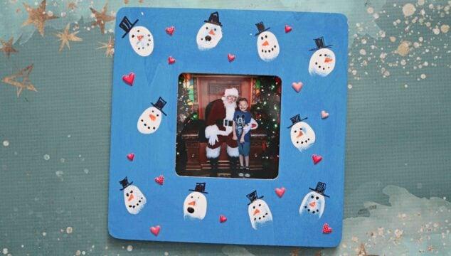 Thumbprint Snowman Frame - Kid Craft Idea For Winter