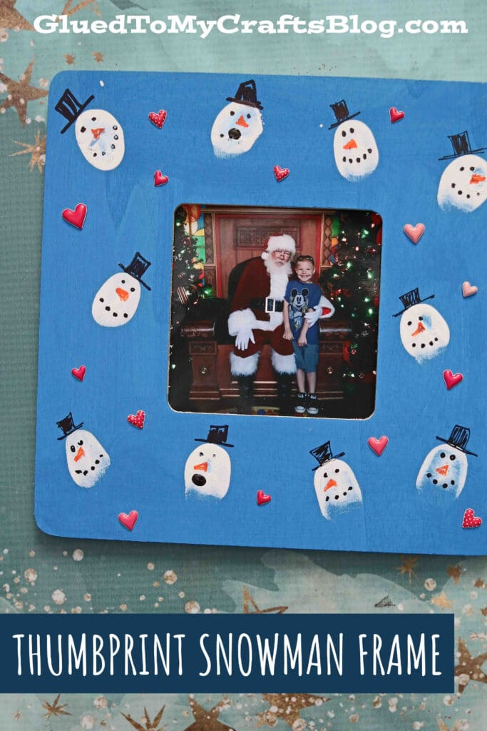 Thumbprint Snowman Frame - Kid Craft Idea For Winter