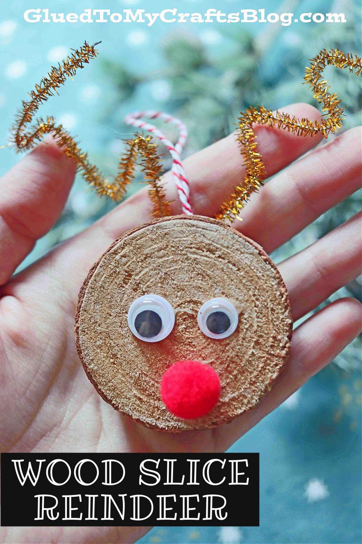 Wood Slice Reindeer Ornament - Kid Craft