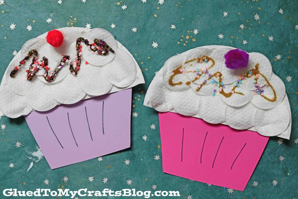 Paper Plate & Cotton Pad Cupcakes - Kid Craft Idea