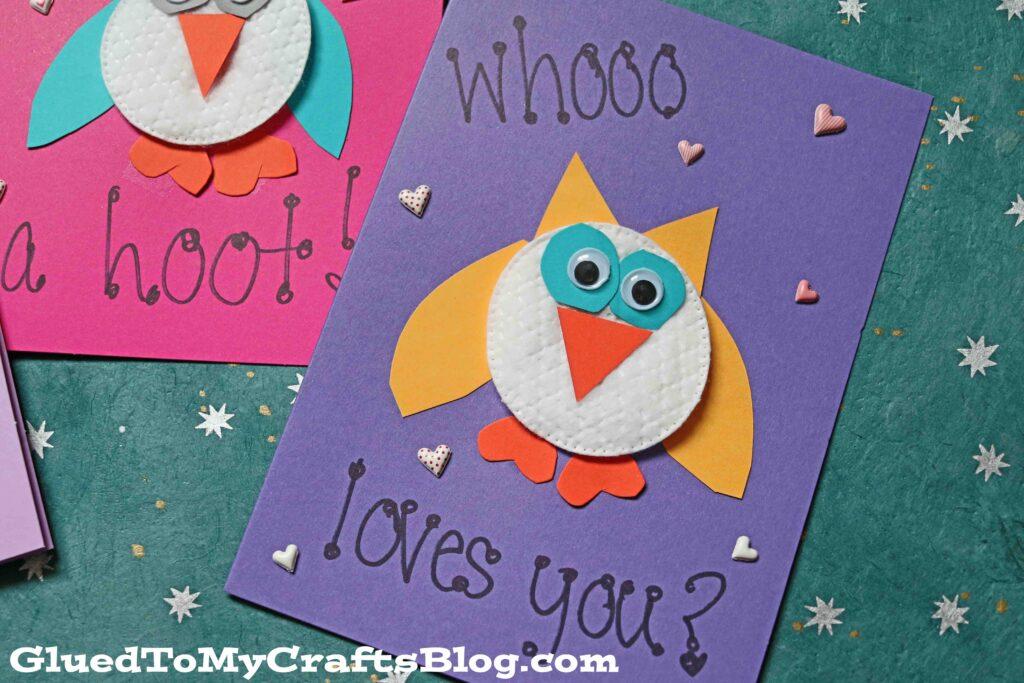 Super UNIQUE Cotton Pad Owl Card Idea For Kids