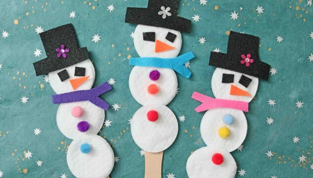 Cotton Pad Snowman Puppets - Winter Kid Craft Idea