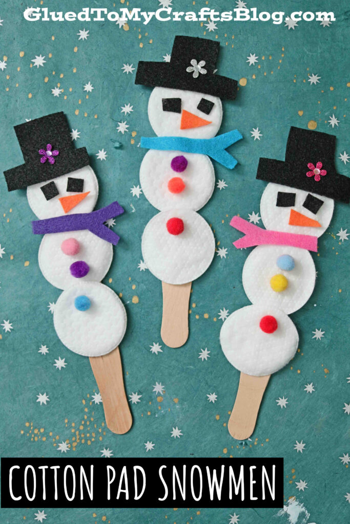 Cotton Pad Snowman Puppets - Winter Kid Craft Idea