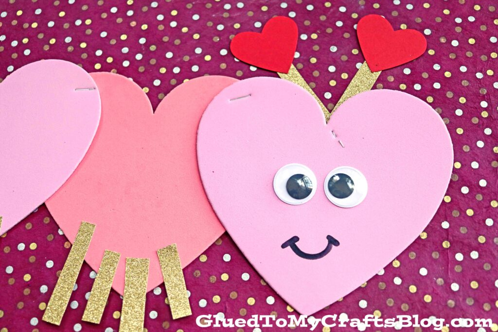 Craft Foam Heart Shaped Valentine Caterpillar - Kid Craft Idea