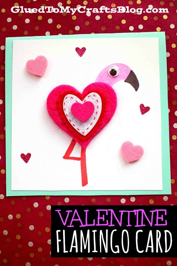 DIY Heart Shaped Flamingo Valentine Card