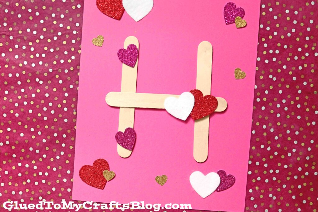 """Popsicle Stick """"H"""" is for Hearts - Valentine's Day Kid Craft"""