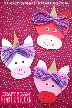 Craft Foam Heart Unicorn - Kid Craft