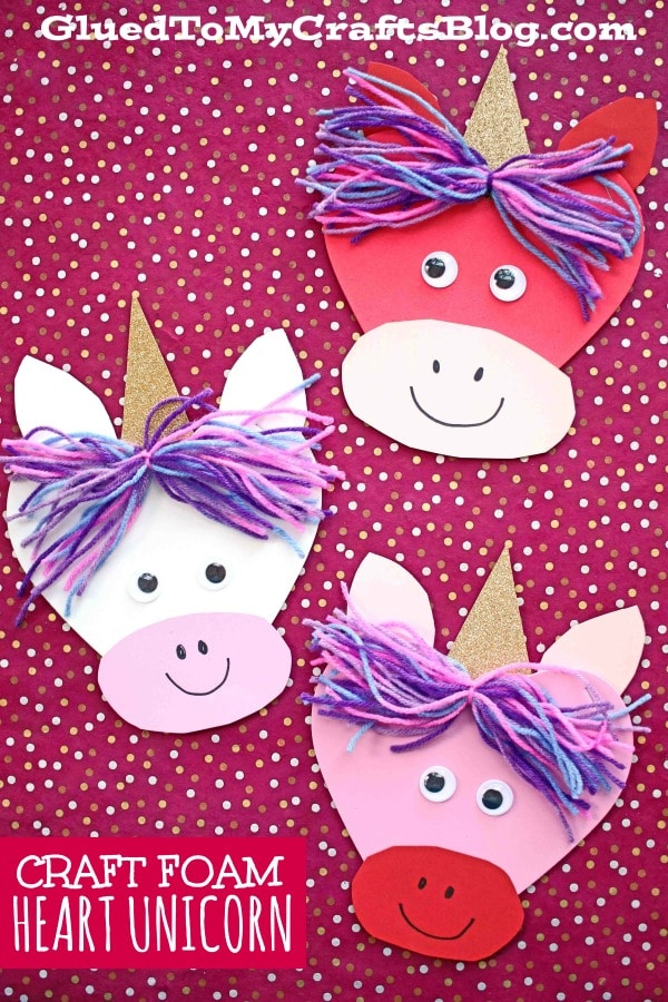 Craft Foam Heart Unicorn Kid Craft For Valentine S Day