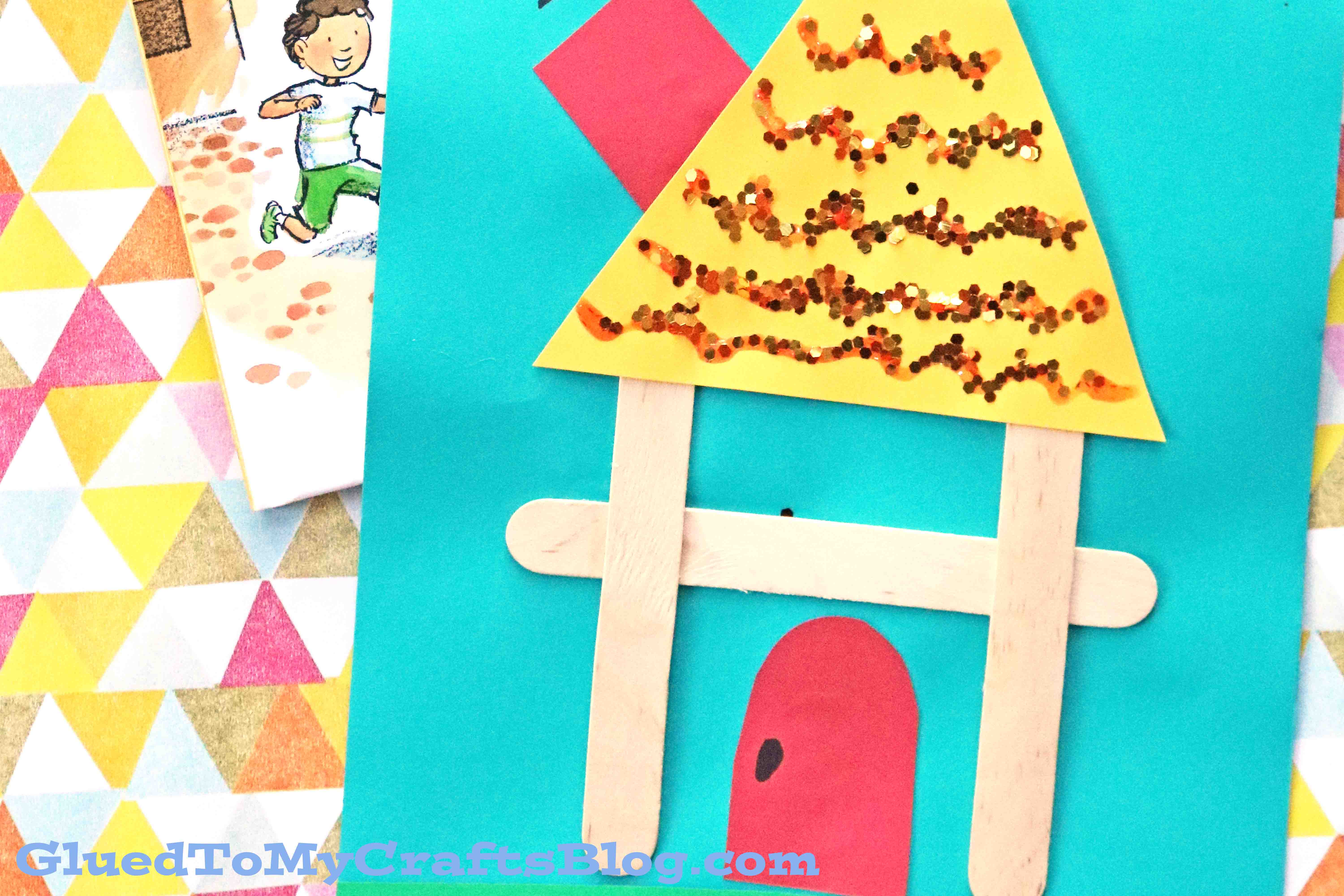 Popsicle stick h is for house kid craft glued to my for Kid crafts at home