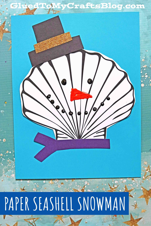 Paper Seashell Snowmen - Kid Craft Idea For Winter
