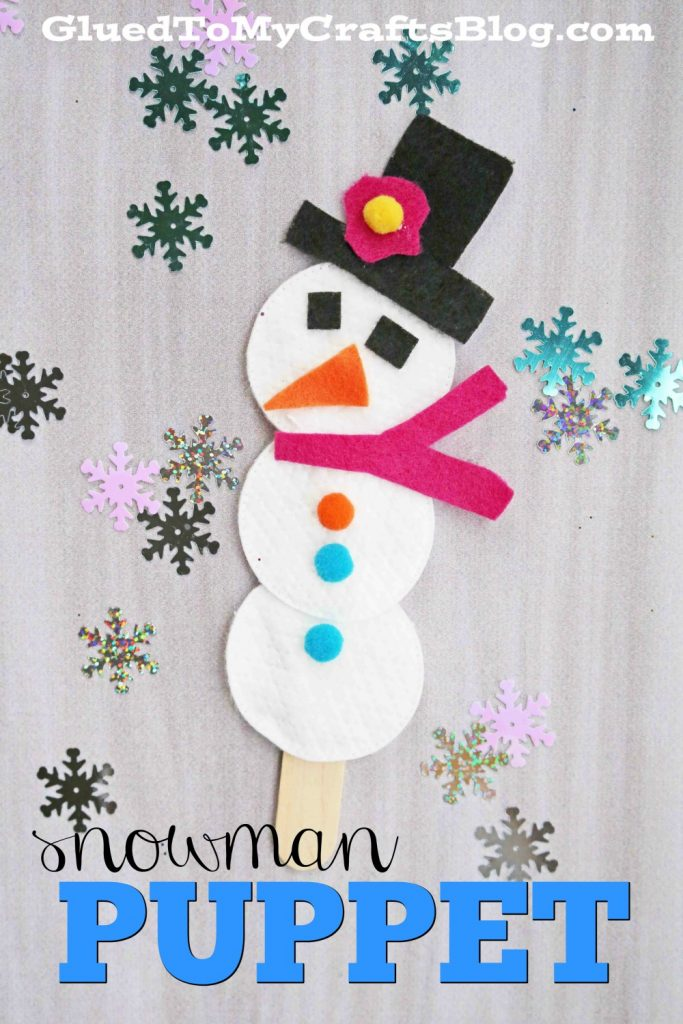 Cotton Pad Snowman Puppet Craft For Kids To Make This Winter!